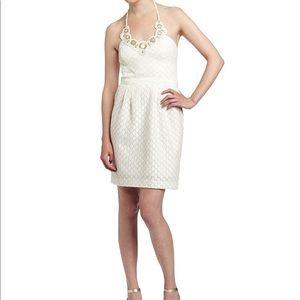 Trina Turk Ivory Cream Halter Beaded Dress 6